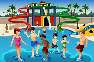 Kids playing in a waterpark