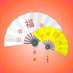 vector chinese new year white yellow fans
