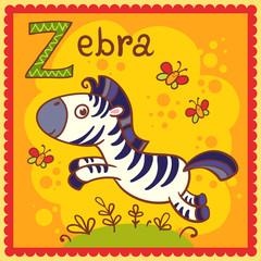 Illustrated alphabet letter Z and zebra.