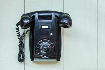 Vintage black wall telephone