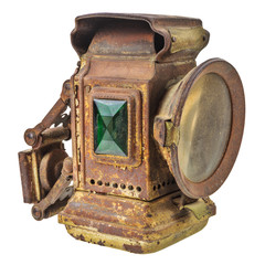 Vintage rusty lantern isolated on white