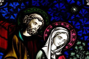 Wall Mural - Mary and Jospeph in stained glass