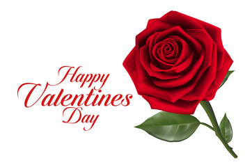 Valentines Day Sweet Red Roses. Mesh Vector Illustration