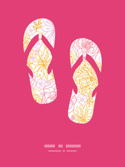 Vector flowers outlined flip flops silhouettes pattern frame