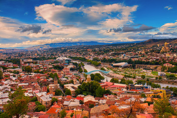 Wall Mural - Beautiful panoramic view of Tbilisi city in evening light