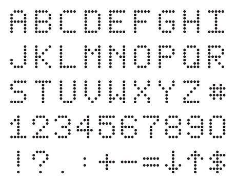 Pixel Or Scoreboard Alphabet, Numbers And Symbols