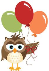 Owl holding balloons