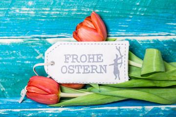 Frohe Ostern Karte mit Tulpen
