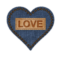 Blue Denim and Leather Heart