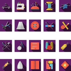 Flat color icons collection of sewing