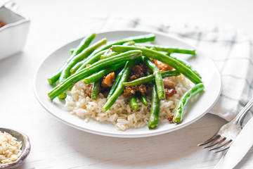 Meat with rice and green beans