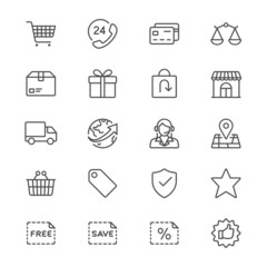 E-commerce thin icons