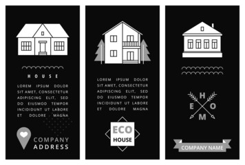 Templates business card with houses.