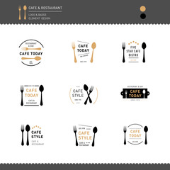Set of Logo and Bagde for Restaurant and Cafe