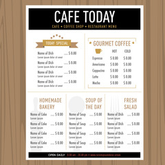 Vintage retro style Cafe Restaurant menu design Template