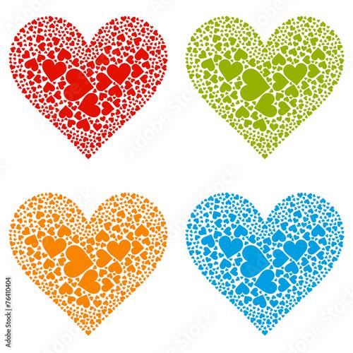 Herz Herzform Heart Rot Blau Grun Gelb Set Vektor Form