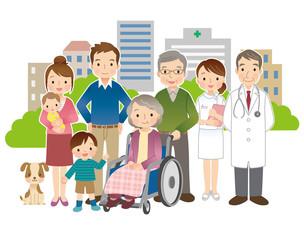 車椅子に乗る高齢者 家族 医師 看護師