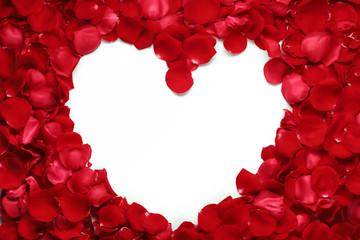 Heart of red rose petals