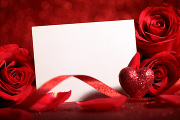 Valentine rose and blank card