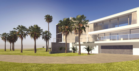 Large modern multi-storey house on a luxury estate