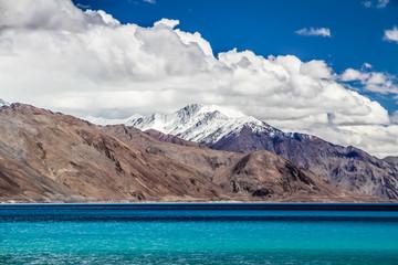 Himalayas range and Pangong Tso lake-Ladakh,India