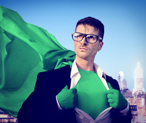 Businessman Superhero City Power Green Business Success Concept
