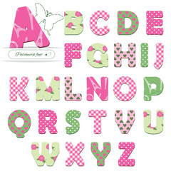 Cute textile font. Patterns included under clipping mask.