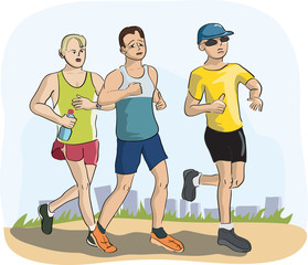 men running marathon