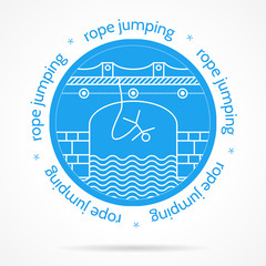Vector illustration with round icon and text for rope jumping.