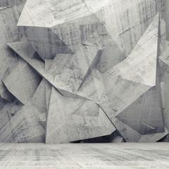 Szary beton 3d - wielokątna ściana z efektem trójwymiaru