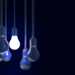 creative idea and leadership concept with 3d light bulb