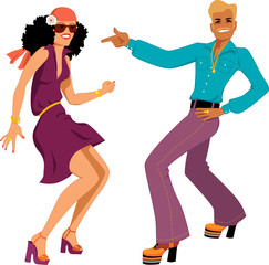 Wall Mural - Couple dancing disco isolated on white
