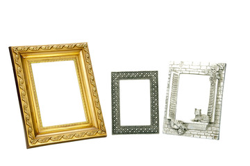 Three Ornate Empty Picture Frames in Various Sizes