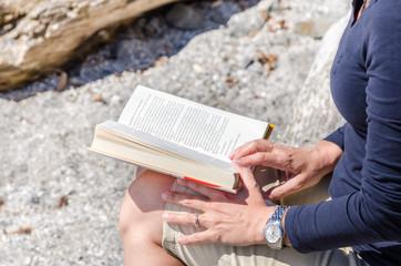 Woman Reading a Book Outdoor