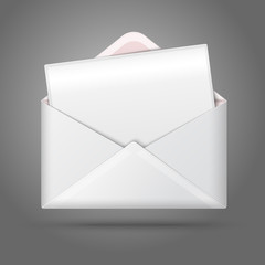 Blank vector white opened envelope and postcard for your text.