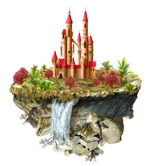 flying island with fabulous castle