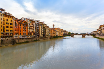 Arno River and bridges Santa Trinita