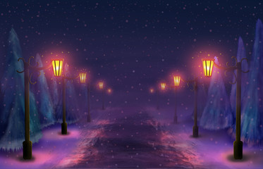 Snowy alley in the park at night by the light of lanterns Fotomurales