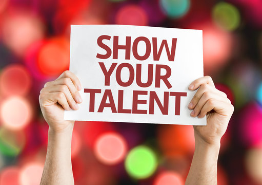 Show your Talent card with colorful background