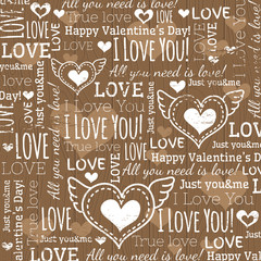 beige background with  valentine heart and wishes text