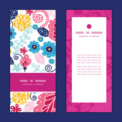 Vector fairytale flowers vertical frame pattern invitation