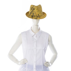 female clothing in hat on mannequin