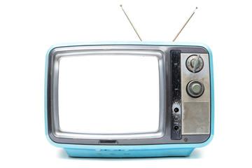Blue Vintage TV on  white background