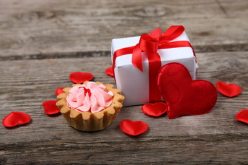 Holidays gift,cake and red heart