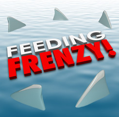 Feeding Frenzy Shark Fins Water Hungry Competition Opponents