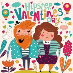 Fototapete - Valentine's Day card. Cartoon card