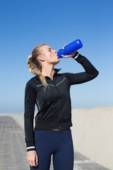 Fit blonde drinking water on the pier