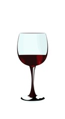 A glass of red wine of isolated on a white background