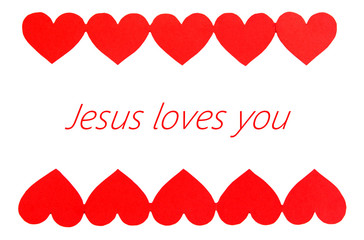 Jesus loves you text in frame