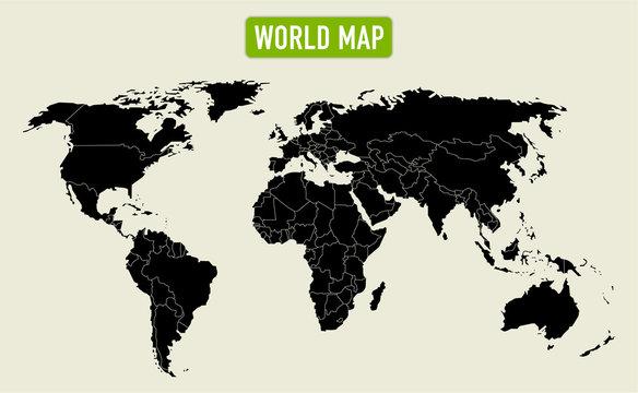 Weltkarte als Vektor, einzelne Staaten